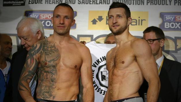 Carl Froch and Mikel Kessler  make weight in London for their rematch.