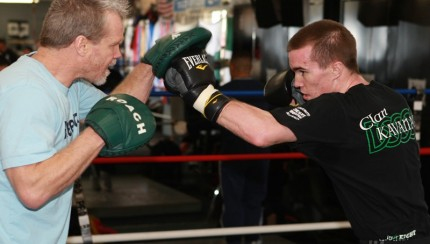 Boxer Jamie Kavanagh hitting the mitts with trainer Freddy Roach