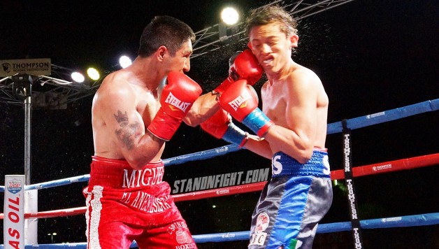Miguel Huerta lands a left hook to the face of Luis Solis in Ontario Ca. Photo by Art Gallegos Jr. for Standnfight.com